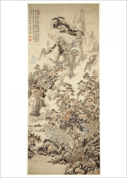 Kunstdruck Hua Yau - Müßig in der Hütte am Bergbach