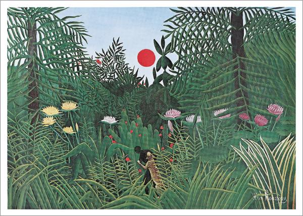 Kunstdruck Rousseau - Urwaldlandschaft mit untergehender Sonne
