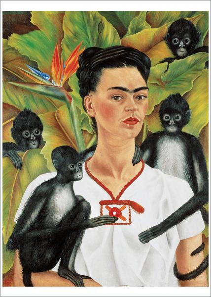Kunstdruck Kahlo - Selbstbild mit Affen